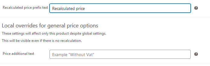 Recalculated price prefix - product settings